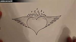 How to draw a heart with wings and flames - YouTube