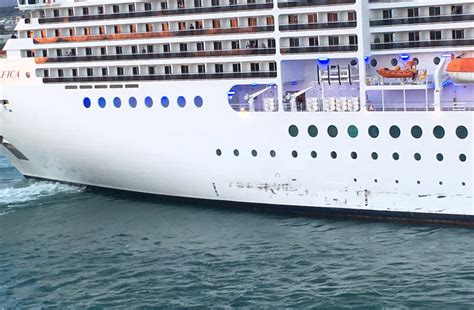 bureau cargo cruise ship msc magnifica damaged in collision with quay