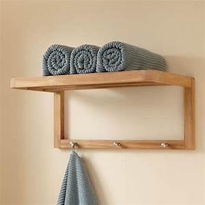 Teak Towel Shelf With Hooks - Bathroom