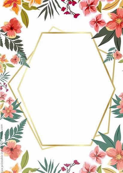 Invitation Templates Printable Floral Frame Watercolor Birthday