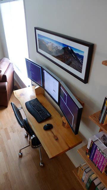 hanging desk  monitor workspace heres  finished