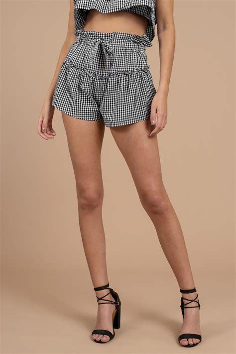 Gingham Shorts black shorts tiered shorts black gingham shorts 48
