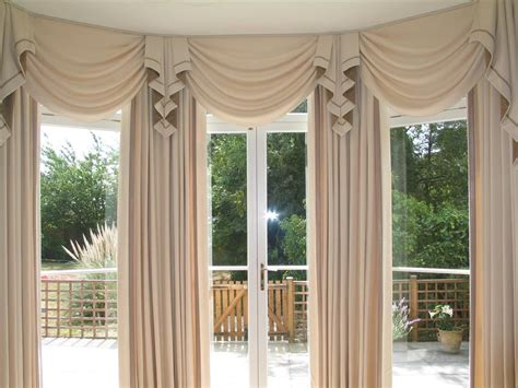 Home Curtain : Swag Curtains For Living Room Large Bay Window Curtains