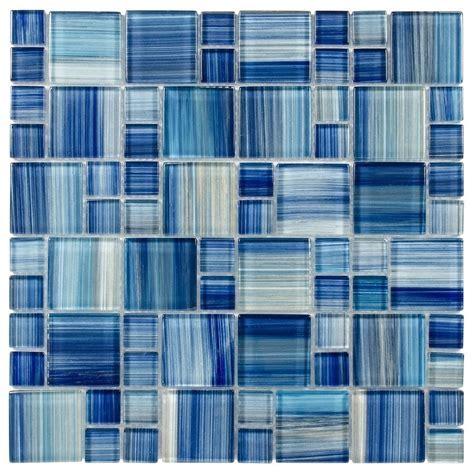 Glass Mosaic Tile Aquarella Blue   Mineral Tiles
