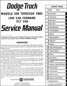 1966 Dodge Tilt Cab Truck Repair Shop Manual Original 500