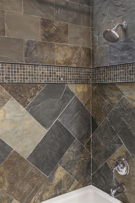 simple shower design   natural slate tiles