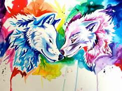 Cute Rainbow Wolf Two rainbow wolves- holiday  Colorful Wolf Painting