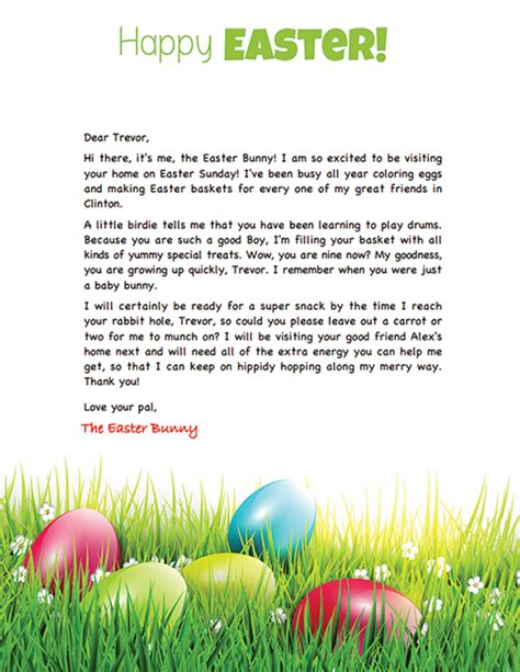 Letter To Easter Bunny Template by Easter Bunny Letter Exle Personalized Letters From