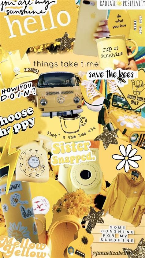 aesthetic yellow collage wallpaper moodboard