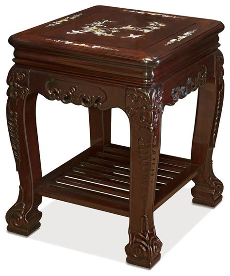 mother of pearl end table rosewood mother of pearl inlay l table with shelf