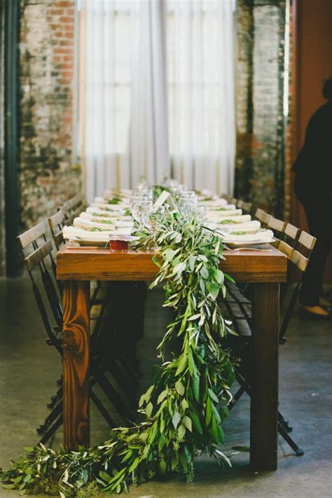 wedding wednesday  trend foliage table runners