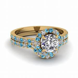 Petite flower diamond wedding ring set with blue topaz in for Blue topaz wedding ring sets