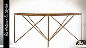Table Basse Dorée : table basse design ronde en verre et m tal dor l 39 ancienne 100 cm int rieurs styles ~ Teatrodelosmanantiales.com Idées de Décoration