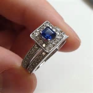 princess cut blue engagement rings 1 05ct princess cut blue sapphire milgrain antique style halo engagement ring matching
