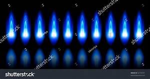 Blue Flames Burning Natural Gas Reflection Stock Vector ...