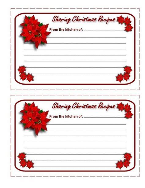christmas recipe cards printable christmas recipe cards