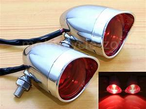 Chrome Red Bullet Turn Signals Brake Stop Running Tail