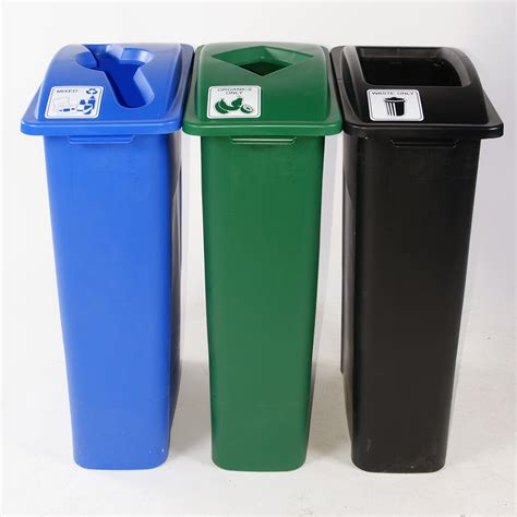waste watcher triple recycling bins trashcans warehouse