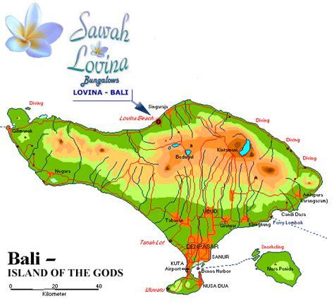 sawah lovina bungalows  bali map  lovina bali