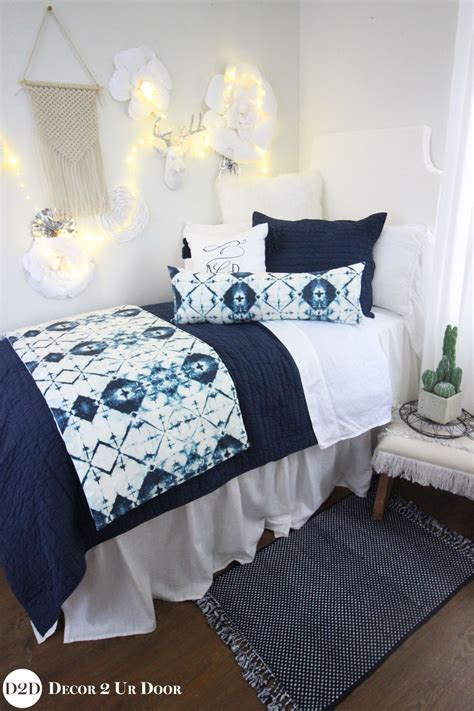 navy white ombre tribal designer teen girls bedding