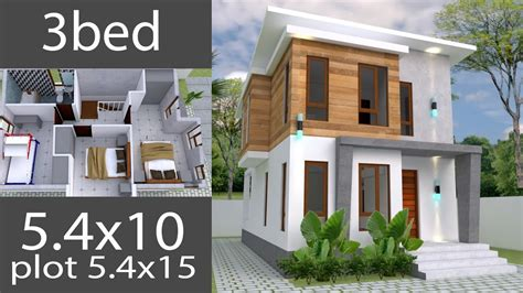 Small Home design Plan 5 4x10m with 3 Bedrooms house plans
