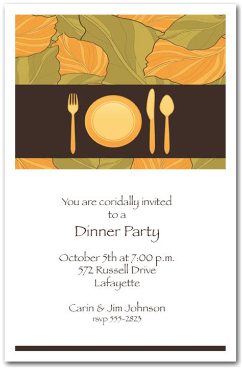 place setting autumn leaves dinner party invitations