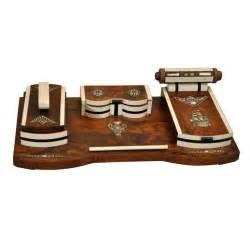 deco burled wood desk set at 1stdibs