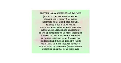 prayer before christmas dinner postcard zazzle
