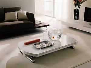 Tischplatte Hochglanz Weiß : h henverstellbar couchtisch mit ausziehbare runde form in wei hochglanz tischplatte und ~ Buech-reservation.com Haus und Dekorationen