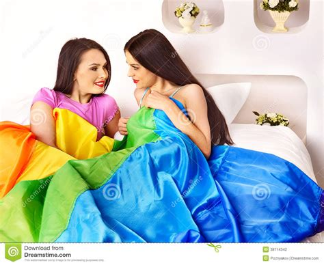 Lesbian Women At Erotic Foreplay Game In Bed Stock