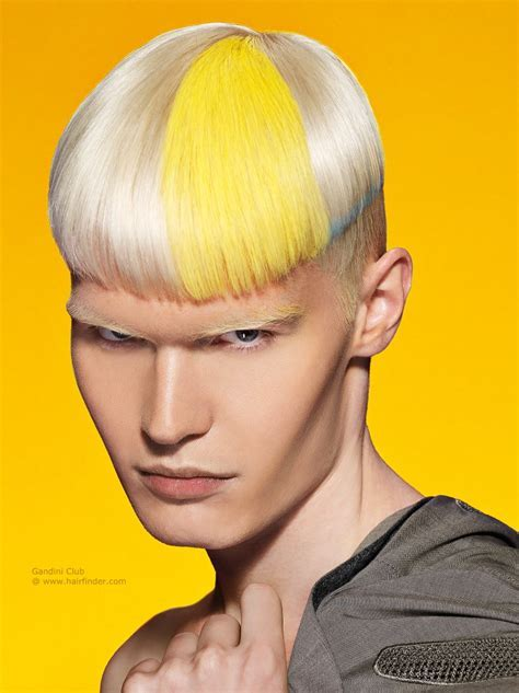 Blonde men's hair with clipped sides and splashes of