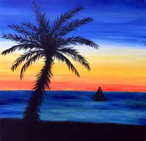 Beach Sunset Watercolor Painting