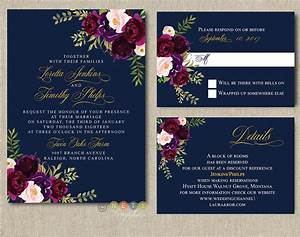 Personalized navy burgundy blush floral wedding for Ebay navy wedding invitations