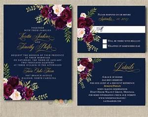 personalized navy burgundy blush floral wedding With ebay navy wedding invitations