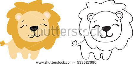 white lion clipart simple cartoon pencil   color