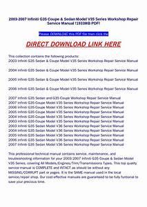 2003 2007 Infiniti G35 Coupe  U0026 Sedan Model V35 Series