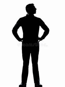 One Business Man Standing Hands On Hips Silhouette Stock ...