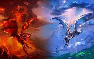 Fire vs. ice dragon wallpaper - 435703
