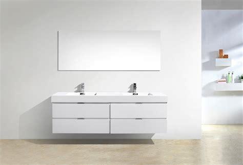bliss  high gloss white wall mount single sink vanity