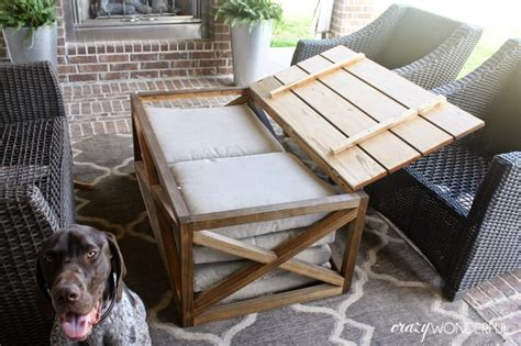 For a coffee table with durable construction and quality materials, copper grove certainly rises to the occasion. DIY outdoor coffee table   with storage - Crazy Wonderful