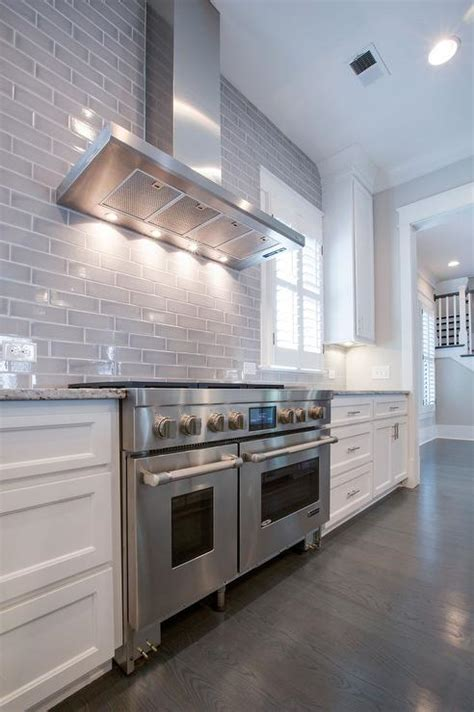 Kitchen With Gray Subway Tiled Backsplash  Transitional