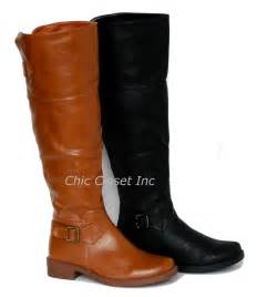 womens flat leather boots canada knee high equestrian fux leather boots flat black shoes ebay