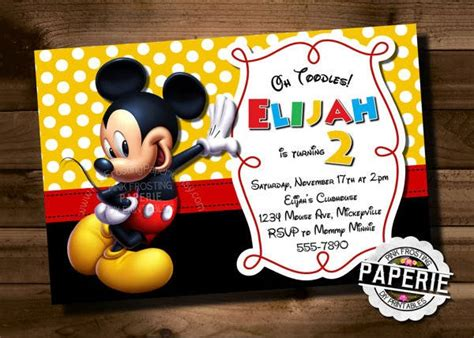 mickey mouse invitation template   psd vector