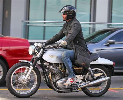 Keanu Reeves In Keanu Reeves Riding His Motorcycle