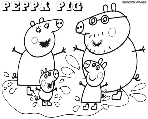 peppa pig family coloring pages sketch coloring page