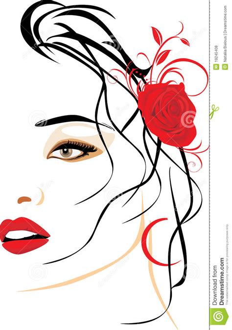 portrait  beautiful woman  red rose  hair stock