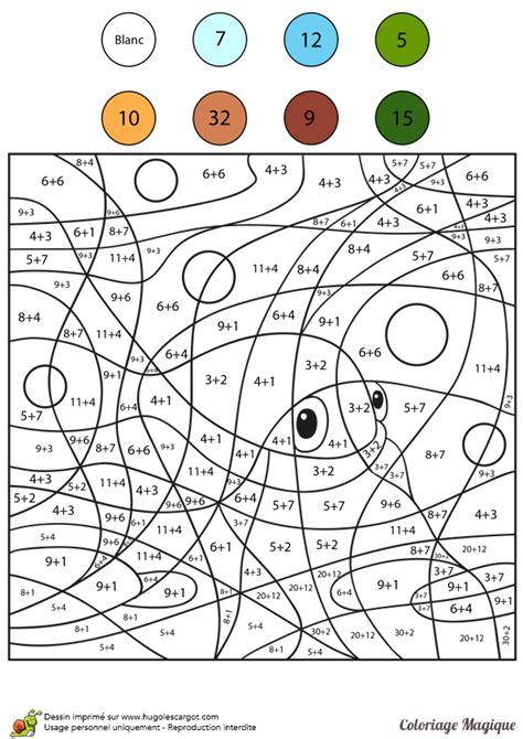 coloriage magique addition poisson color  number