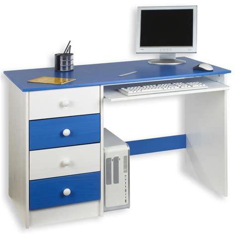 bureau bleu bureau enfant 4 tiroirs lasuré blanc bleu achat vente