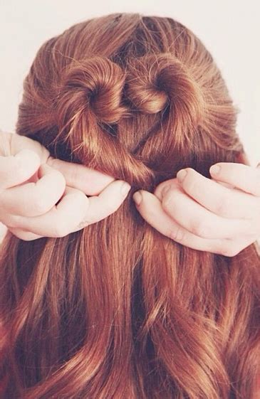 heart shaped bun twisted updos valentines day hair