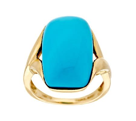sleeping beauty turquoise elongated cushion ring  gold